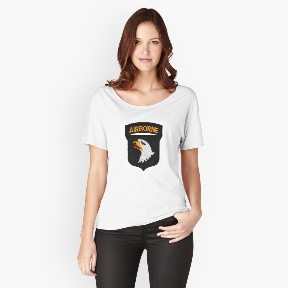 101st Airborne Patch -  iPad Case Women's Relaxed Fit T-Shirt Front