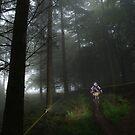 Mountain biker in misty forest by turniptowers