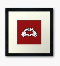 Mickey Hands Heart Love Framed Print
