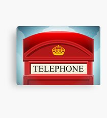 English Red Telephone Cabin Canvas Print