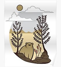 Cute Simple Bear in the Forest  Poster