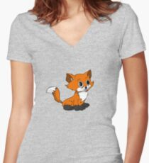 Happy Baby Fox Women's Fitted V-Neck T-Shirt