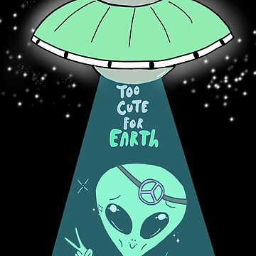 Too Cute For Earth - Black Background by christensart