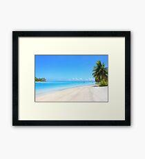 Paradisiac beach in French Polynesia Framed Print