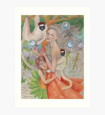 Mother Universe with Daughter Earth and the Lemurs Art Print