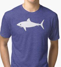 Shark Pattern Sky Blue Tri-blend T-Shirt