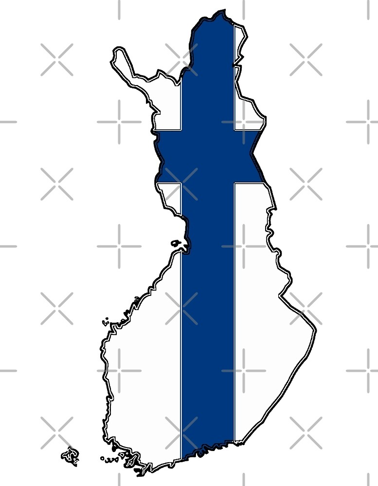 Finland Map With Flag of Finland by Havocgirl