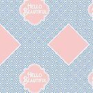 Rose Quartz Pink Serenity Blue Greek Key Quatrefoil by Beverly Claire Kaiya