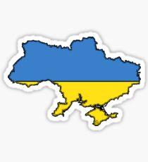 Ukraine Map With Ukrainian Flag Sticker
