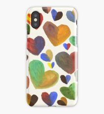 Hand-Painted Hearts in Colorful Chocolate Brown iPhone Case/Skin