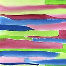 Watercolor Hand Painted Red Blue Green Stripes Background by Beverly Claire Kaiya