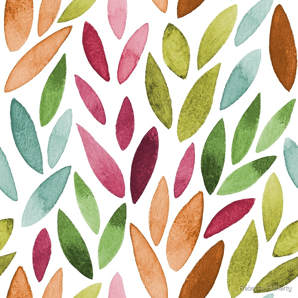 Watercolour Leaves Pattern | Autumn Shades by Rebecca Flaherty