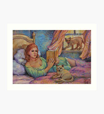 Girl Reading Cats Watching Art Print