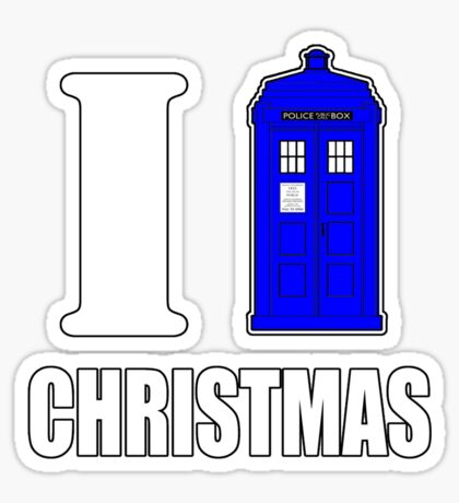 I TARDIS Christmas Sticker