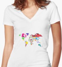 World is beautiful Women's Fitted V-Neck T-Shirt