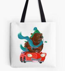 Bear in car Tote Bag