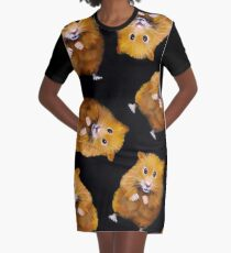 Hamsters: Cute: Random Pattern on Black, Hamster Art, Drawing Graphic T-Shirt Dress