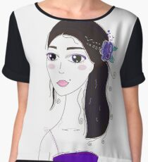 Beautiful Original illustration of Slavic Girl with Black Hair Women's Chiffon Top