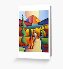 pilgrimage to the sacred mountain with 3 figures Greeting Card