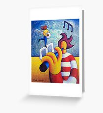 Two soft musicians with musical notes(impasto) acrylic Greeting Card