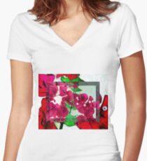 Bougainvillea Art Women's Fitted V-Neck T-Shirt