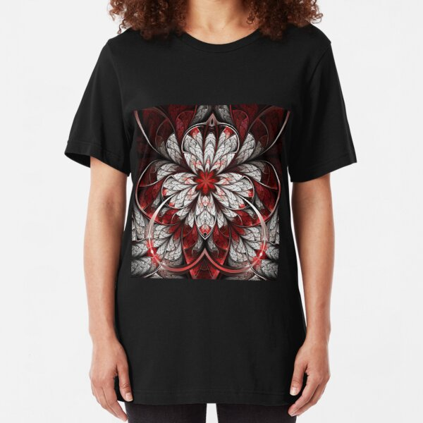 Bleeding - Abstract Fractal Artwork Slim Fit T-Shirt