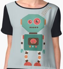 Fun Retro Robot Art Chiffon Top