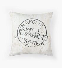 Postmark on vintage paper Throw Pillow
