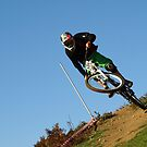 Mountain biker on skyline by turniptowers