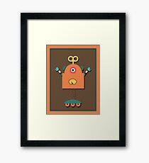 Cute Retro Robot Toy Framed Print