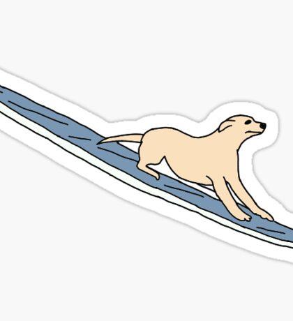 dog on surfboard sticker Sticker
