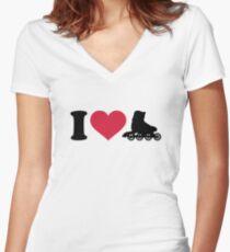 I love Inline skates Women's Fitted V-Neck T-Shirt