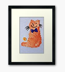 ginger cat with bow Framed Print