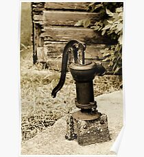 Antique Water Pump on a Concrete Cistern Poster