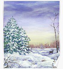 Winter Pine Trees Poster