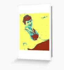 Yellow gal vintage Greeting Card