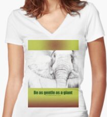 Elephant Art on Clothes Women's Fitted V-Neck T-Shirt