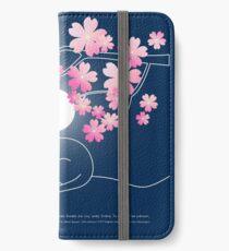 Hübsche Katze Pink Japanese Sakura Cherry Blossoms blaue Nacht iPhone Flip-Case/Hülle/Klebefolie
