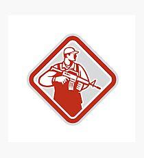Soldier Serviceman Military Assault Rifle Shield Retro Photographic Print