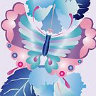 Pretty Purple Turquoise Butterfly Blue Winter Hibiscus Flowers by Beverly Claire Kaiya