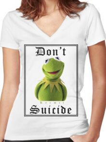 Don't Kermit Women's Fitted V-Neck T-Shirt