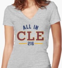 All in CLE 216 Women's Fitted V-Neck T-Shirt