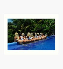 Blonde models only posing for White Tank Project - back view Art Print