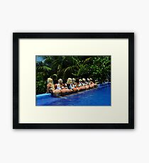 Blonde models only posing for White Tank Project - back view Framed Print