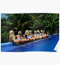 Blonde models only posing for White Tank Project - back view Poster
