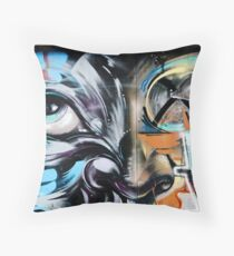 Abstract Graffiti Face on the textured brick wall Throw Pillow