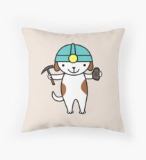 Cute Geologist Puppy Dog Throw Pillow