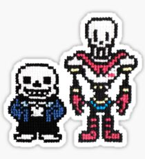 Sans and Papyrus 8-bit to Cross stitch <3 Sticker