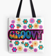 Sixties style mod pop art psychedelic colorful Groovy text design Tote Bag