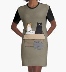 Cats in a Box Graphic T-Shirt Dress